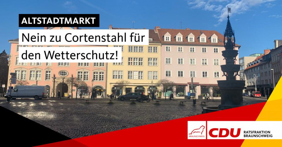 Beim barrierefreien Umbau der Haltestellen auf dem Altstadtmarkt wird auch der Wetterschutz neu gemacht, wir sagen
